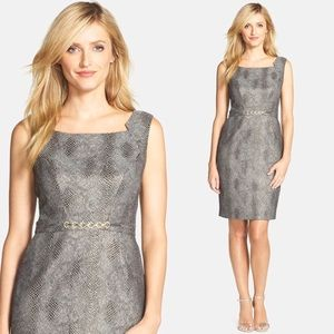 [Ellen Tracy] Metallic Jacquard Sheath Dress